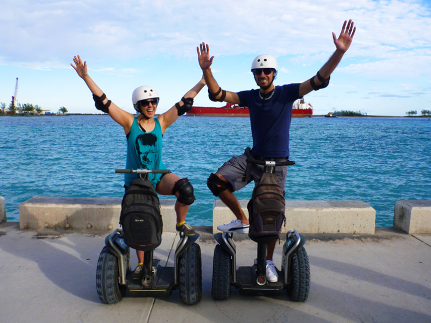 Justin Plus Lauren Riding Segways in Nassau, Bahamas